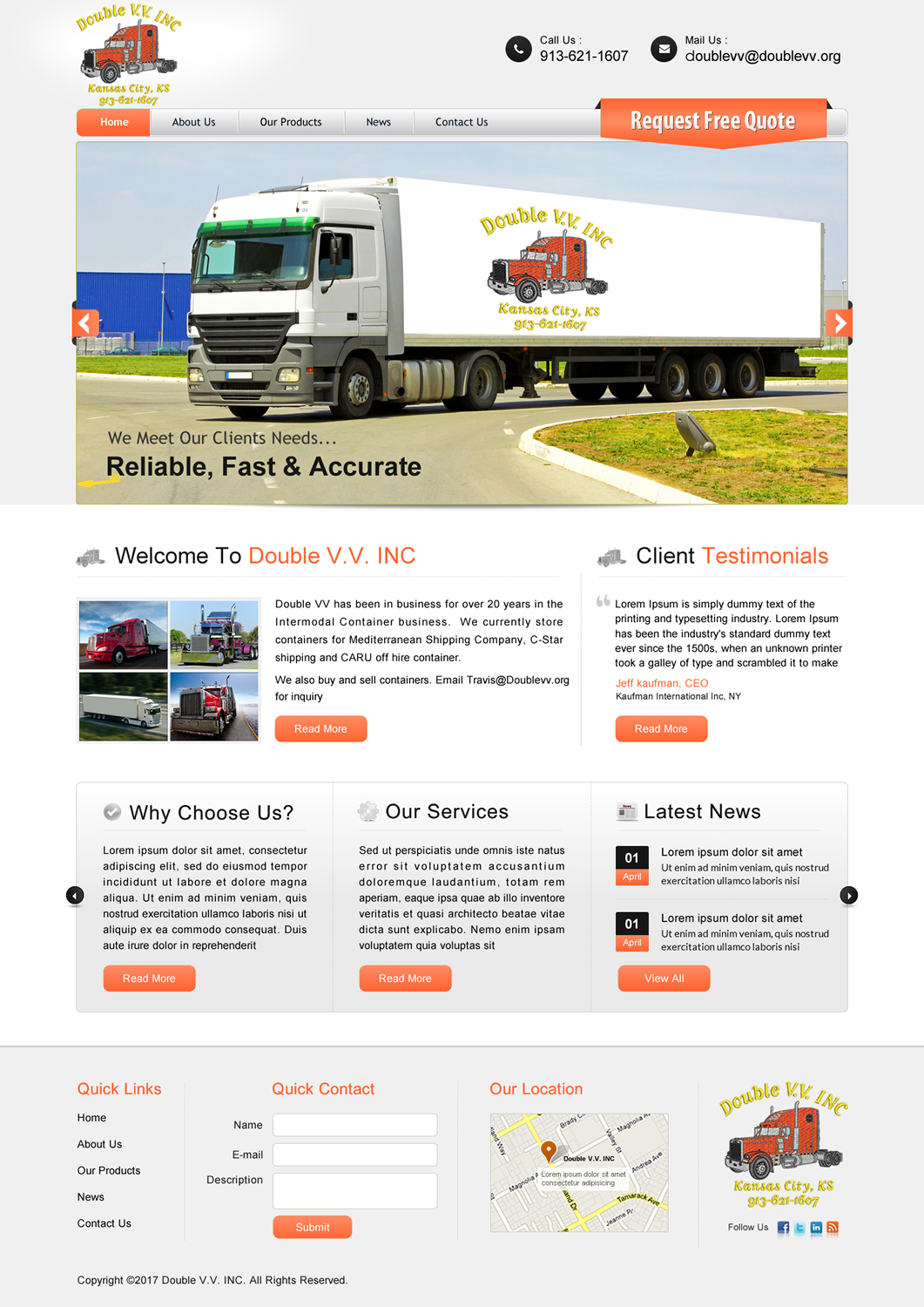 Masculine, Upmarket, Trucking Company Web Design for