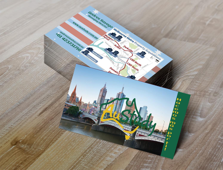 Playful modern student business card design for austudy pty ltd by business card design by pacheletlana for austudy pty ltd design 15132674 reheart Images