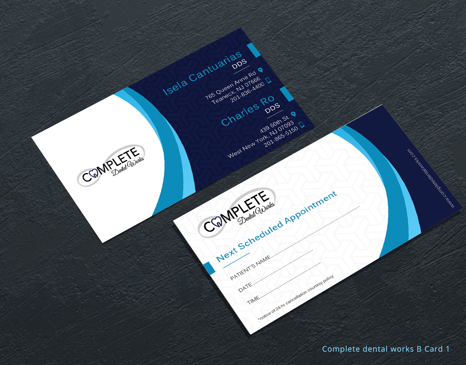 elegant playful dental business card design for one and only