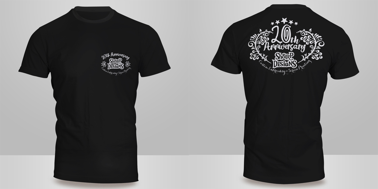 Design t shirt embroidery - T Shirt Design By Kero For Sharp Designs Custom Embroidery 20th Anniversary T Shirt