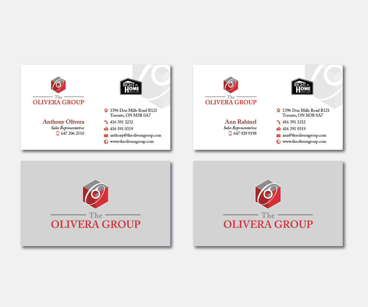Business business card design for right at home realty the olivera business business card design for right at home realty the olivera group in canada design 14388793 reheart Gallery