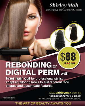Poster Design by rkailas - Poster on rebonding promotion for Hair salon