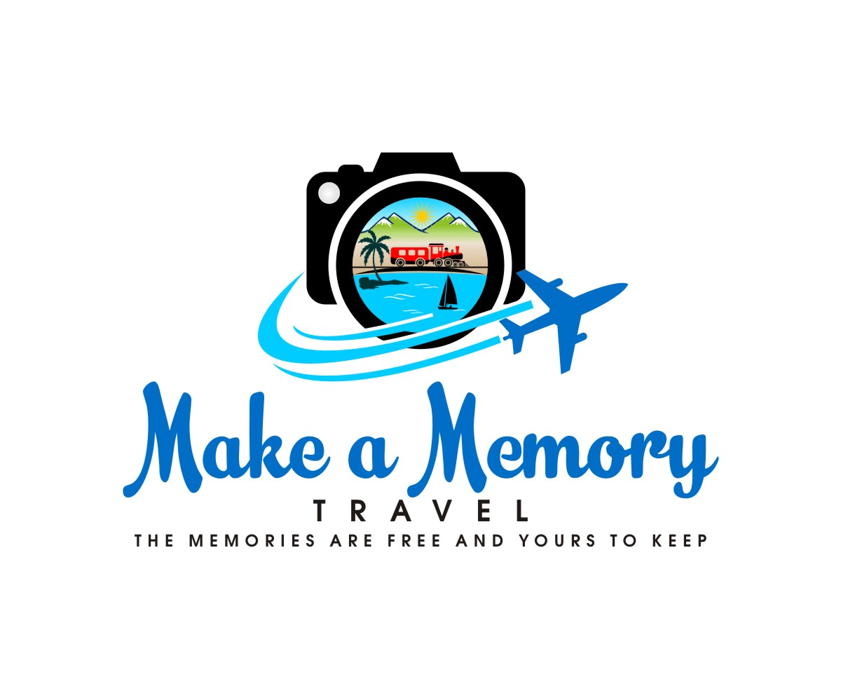 traditional  colorful  travel agent logo design for make a memory  travel