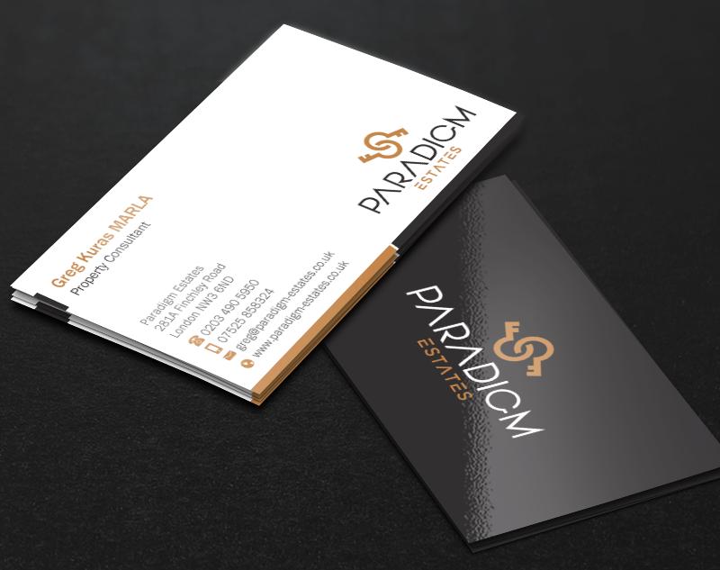 Elegant, Serious, Real Estate Agent Business Card Design for