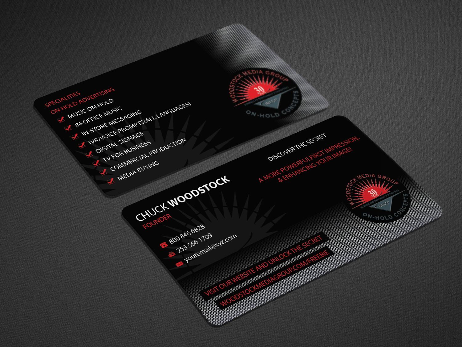 Professional, Upmarket Business Card Design for Woodstock Media ...
