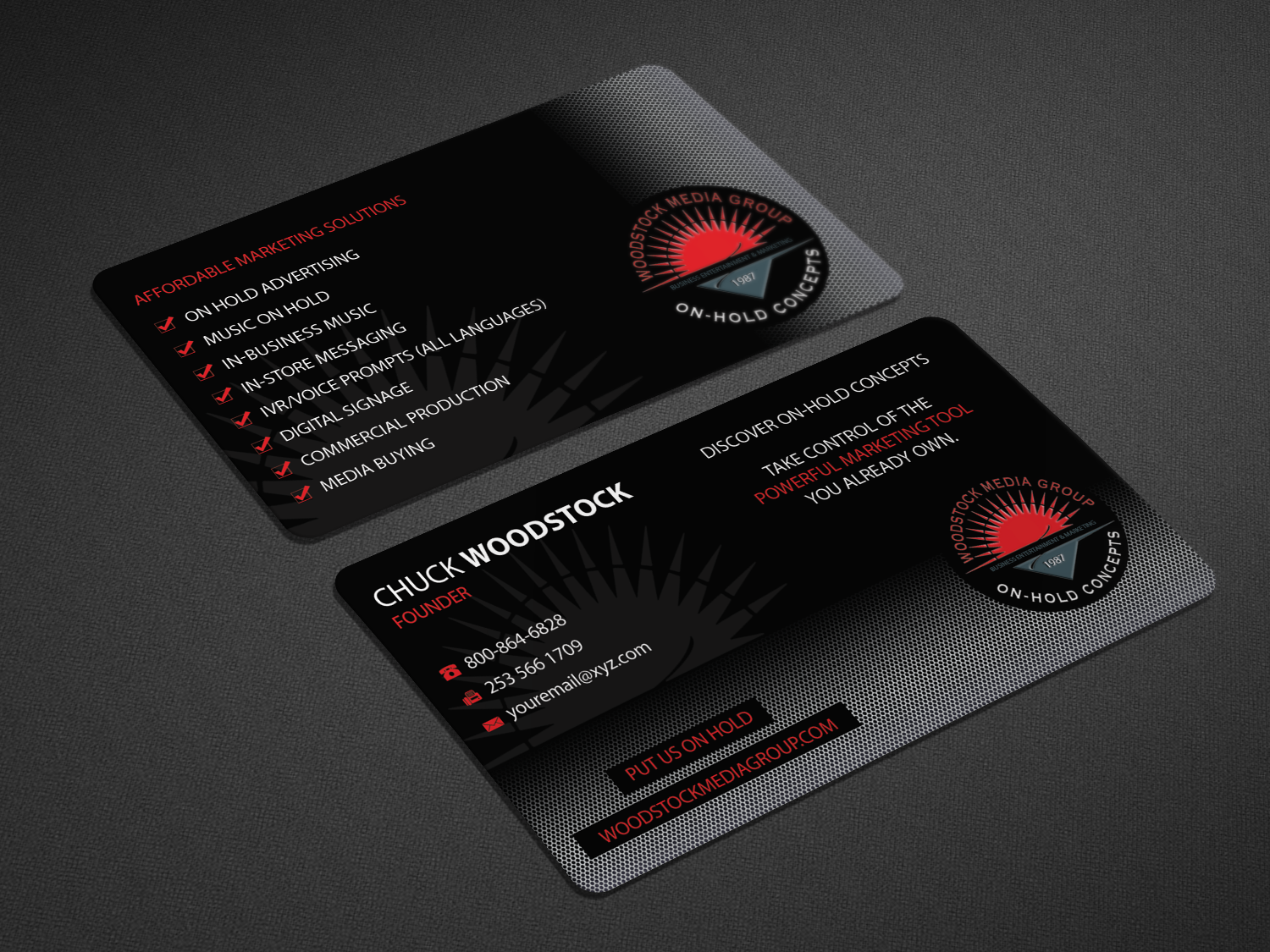 Professional upmarket business card design for woodstock media business card design by riz for on hold advertising ampamp music magicingreecefo Images
