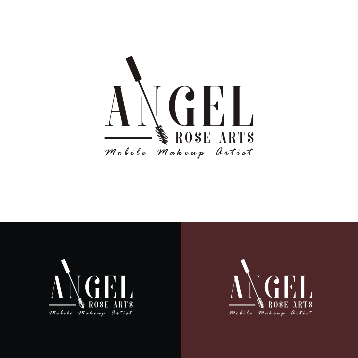 Modern Feminine Makeup Logo Design For Angel Rose Arts By