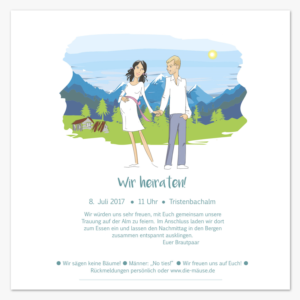 Playful personable invitation design job invitation brief for finn einladungs entwurf job invitation card with drawings for a mountain wedding winning design stopboris Images