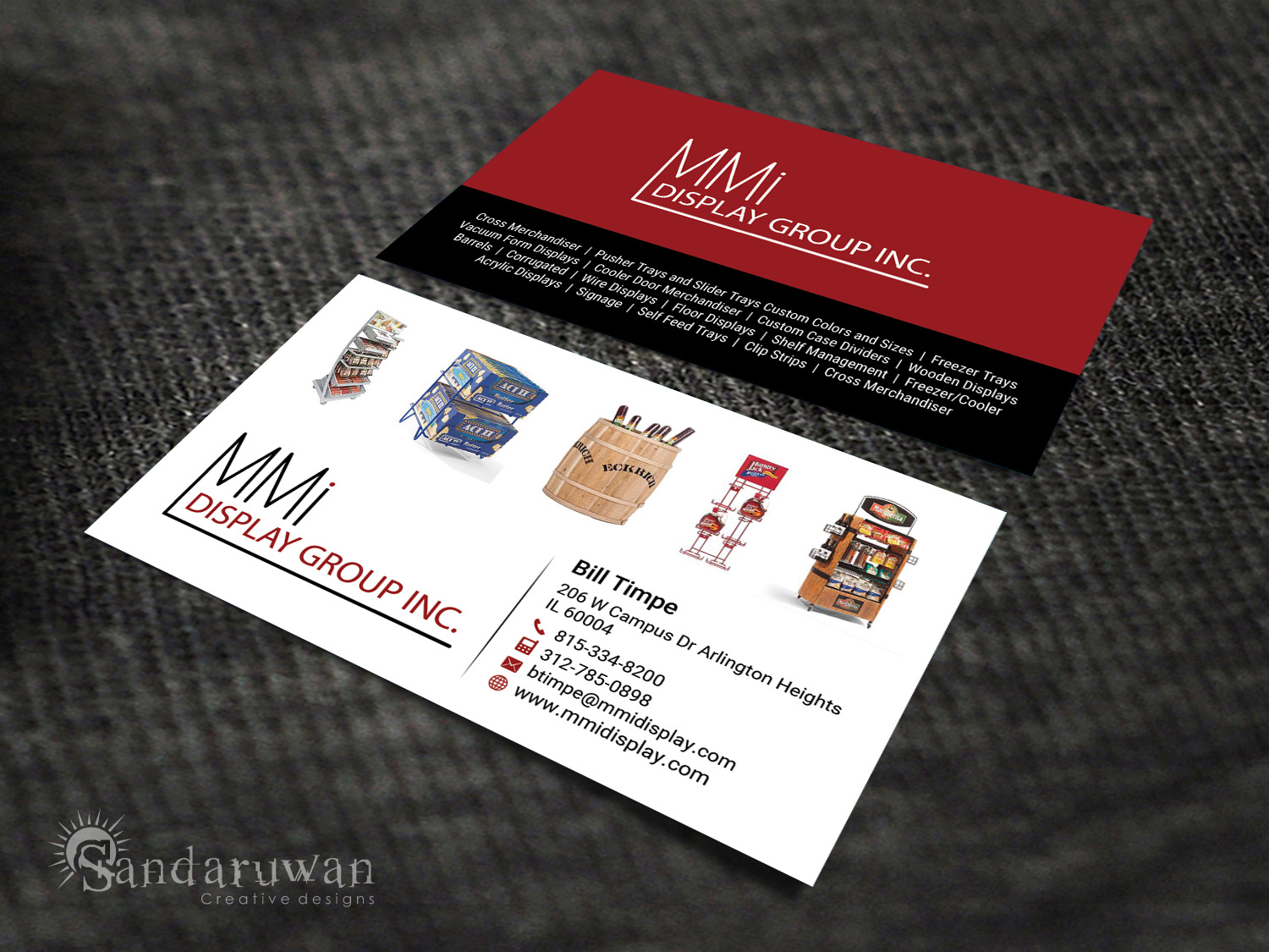 Bold Serious Business Card Design For MMI DISPLAY GROUP INC In United States