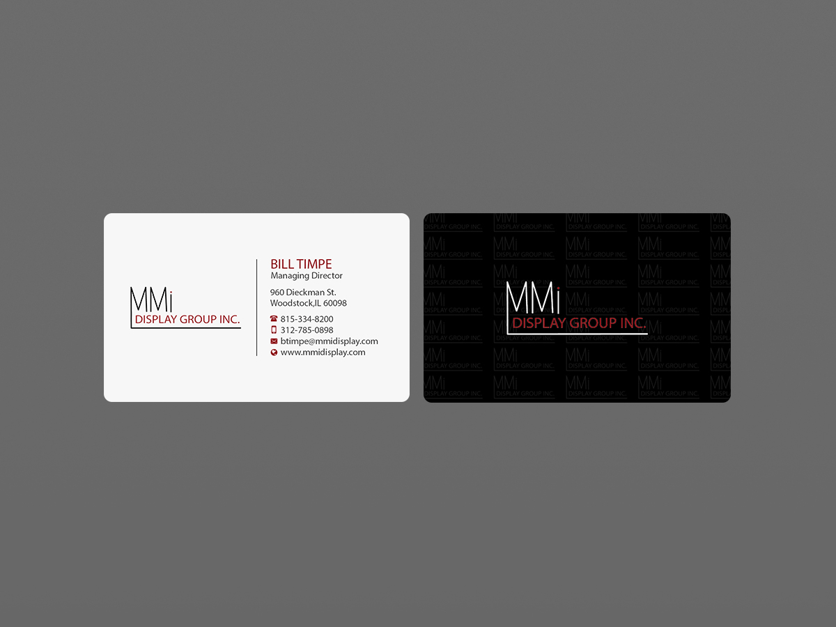 Bold, Serious Business Card Design for MMI DISPLAY GROUP, INC. by ...
