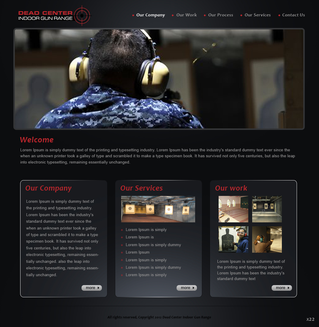 Bold masculine web design for bizproducer by pb design for Indoor shooting range design uk
