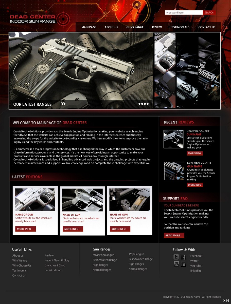 29 bold masculine gun web designs for a gun business in for Indoor shooting range design uk