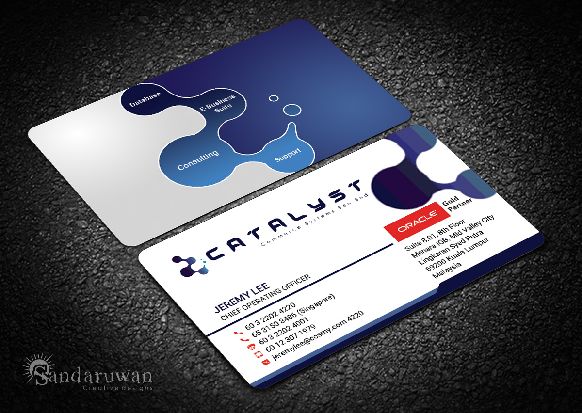 Modern professional information technology business card design business card design by sandaruwan for catalyst commerce systems pte ltd design 14607273 colourmoves