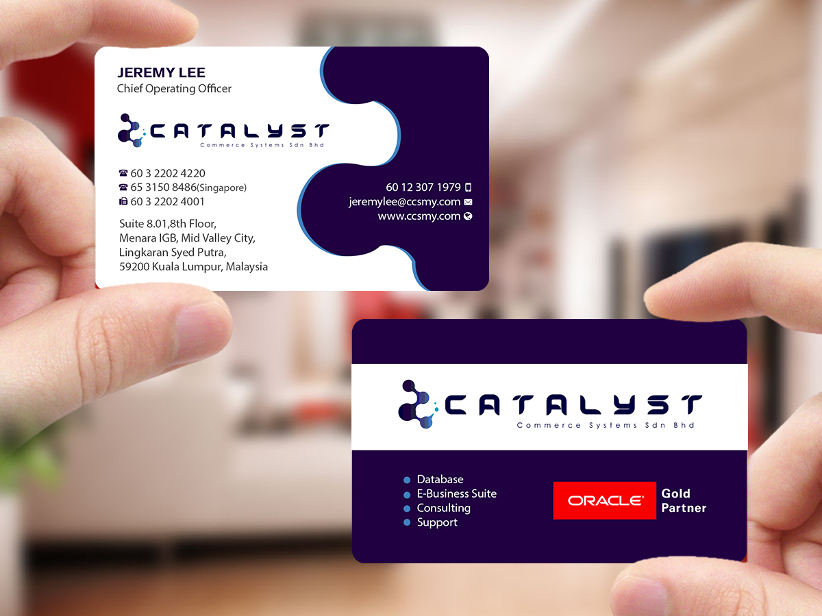 Modern professional information technology business card design business card design by creations box 2015 for catalyst commerce systems pte ltd design reheart