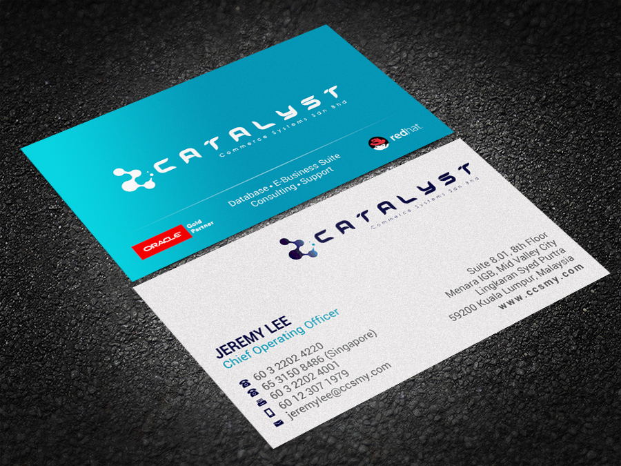 130 modern business card designs information technology business business card design by brand aid for catalyst commerce systems pte ltd design reheart Images