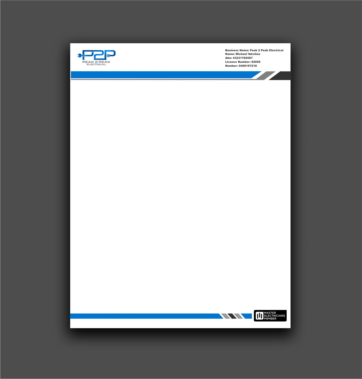 professional bold letterhead design for peak 2 peak electrical by