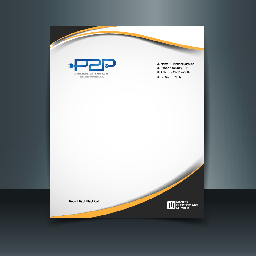 Professional, Bold Letterhead Design for Peak 2 Peak Electrical by ...