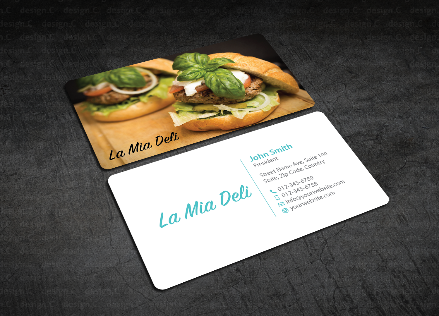 Elegant Playful Food Store Business Card Design For The Ups Store