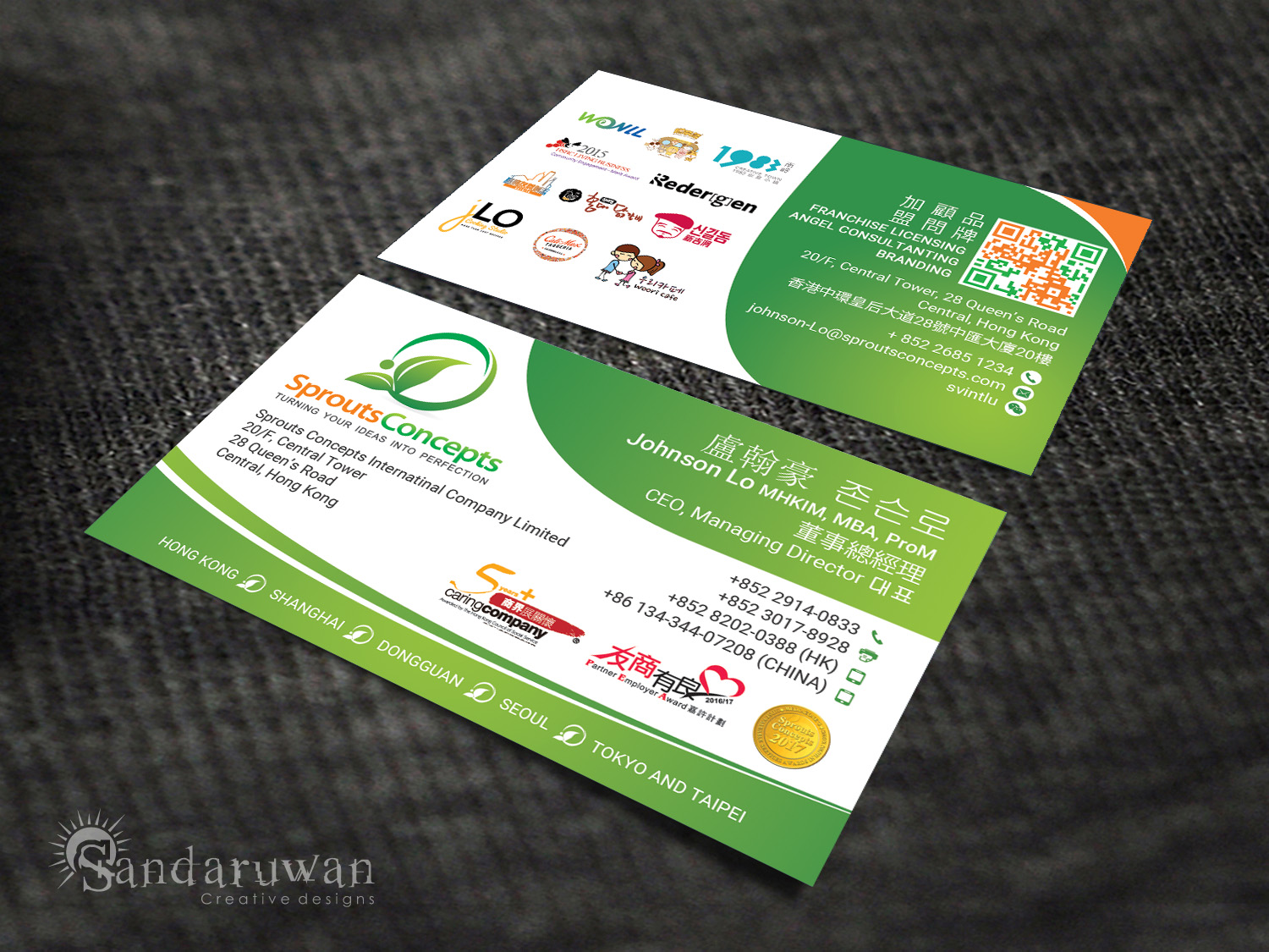 Modern professional it professional business card design for in hong kong design 14721242 business card design by sandaruwan for sprouts concepts international company limited design 14721242 reheart Image collections