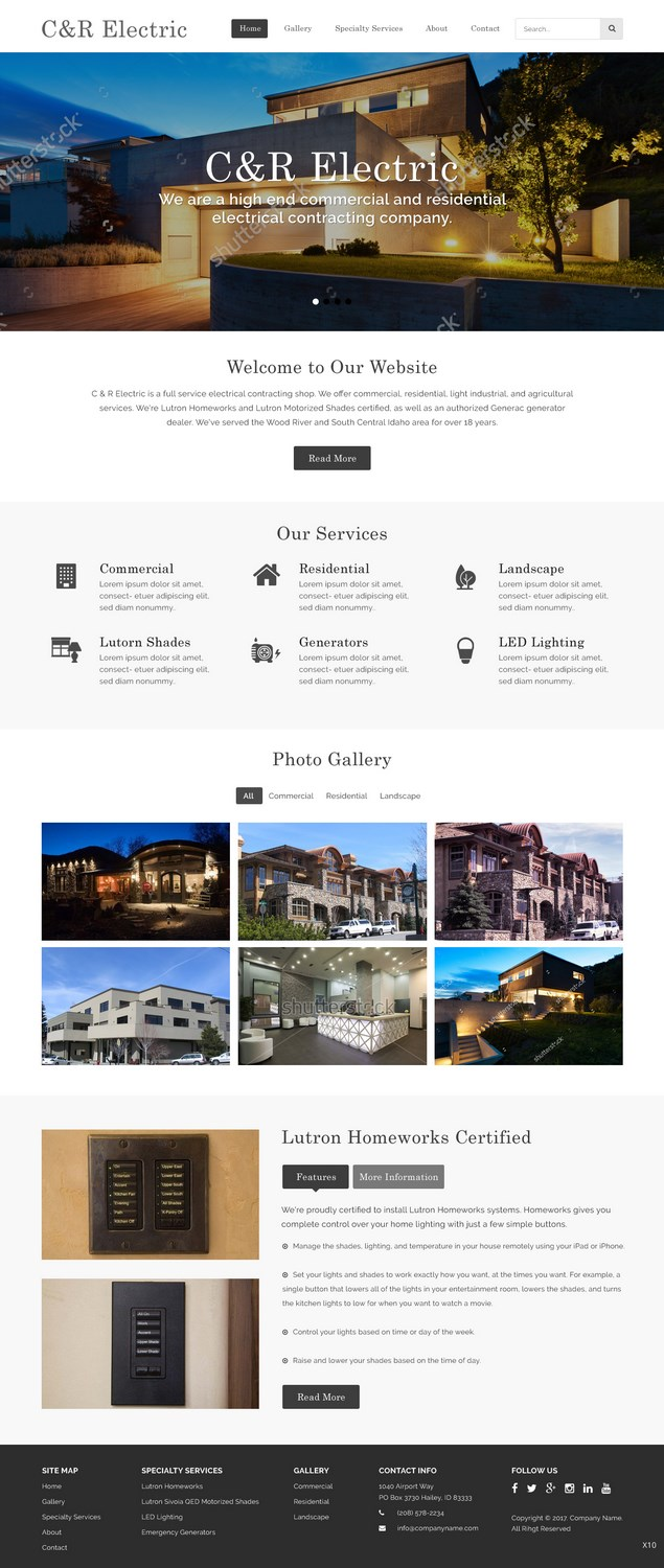 Upmarket, Professional, Electrician Web Design for a Company