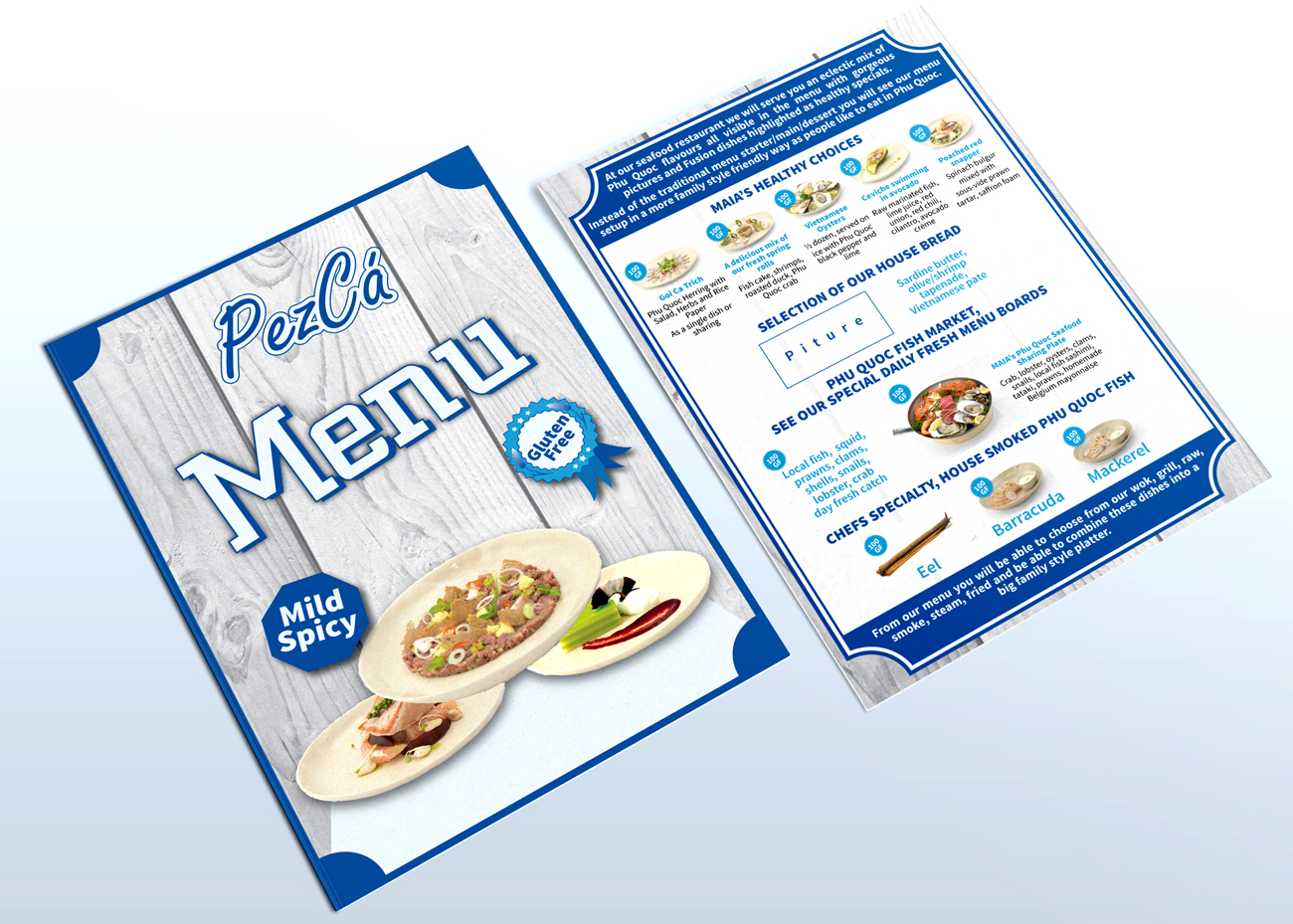 elegant serious seafood restaurant menu design for a company by