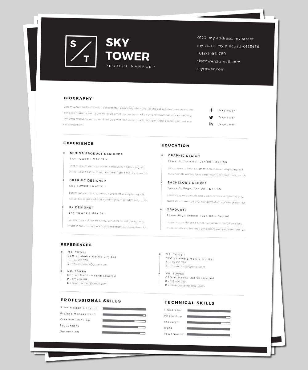 Modern, Elegant, Builder Lebenslauf-Design for Premium Mockups by ...