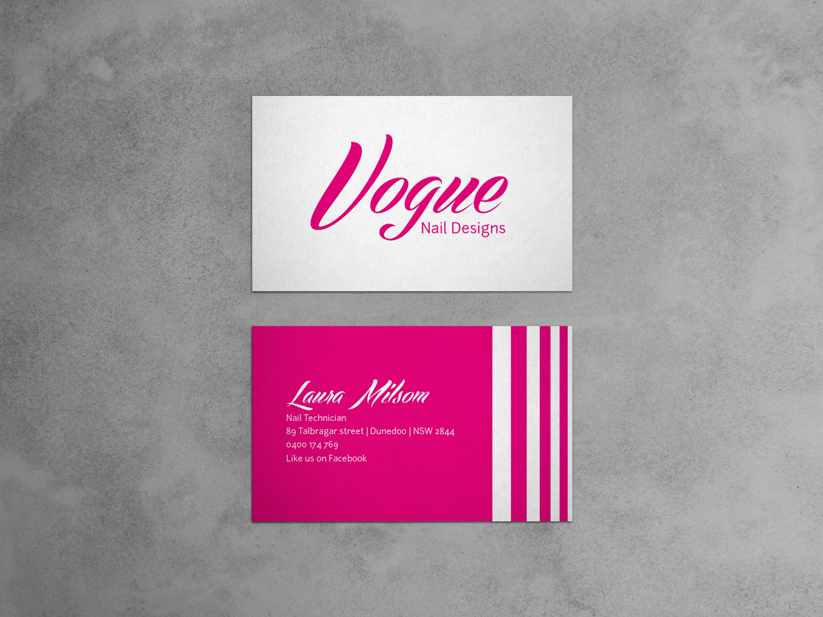Bold modern business card design for laura milsom by business card design by haydenmeaclem for nail technician business card design design 2542190 magicingreecefo Choice Image