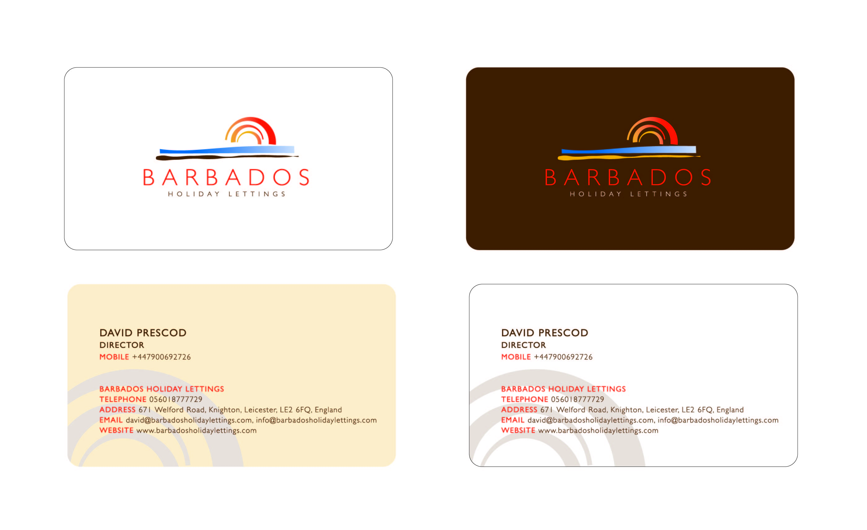Business Card Design for Barbados Holiday Lettings by Rising Sun ...