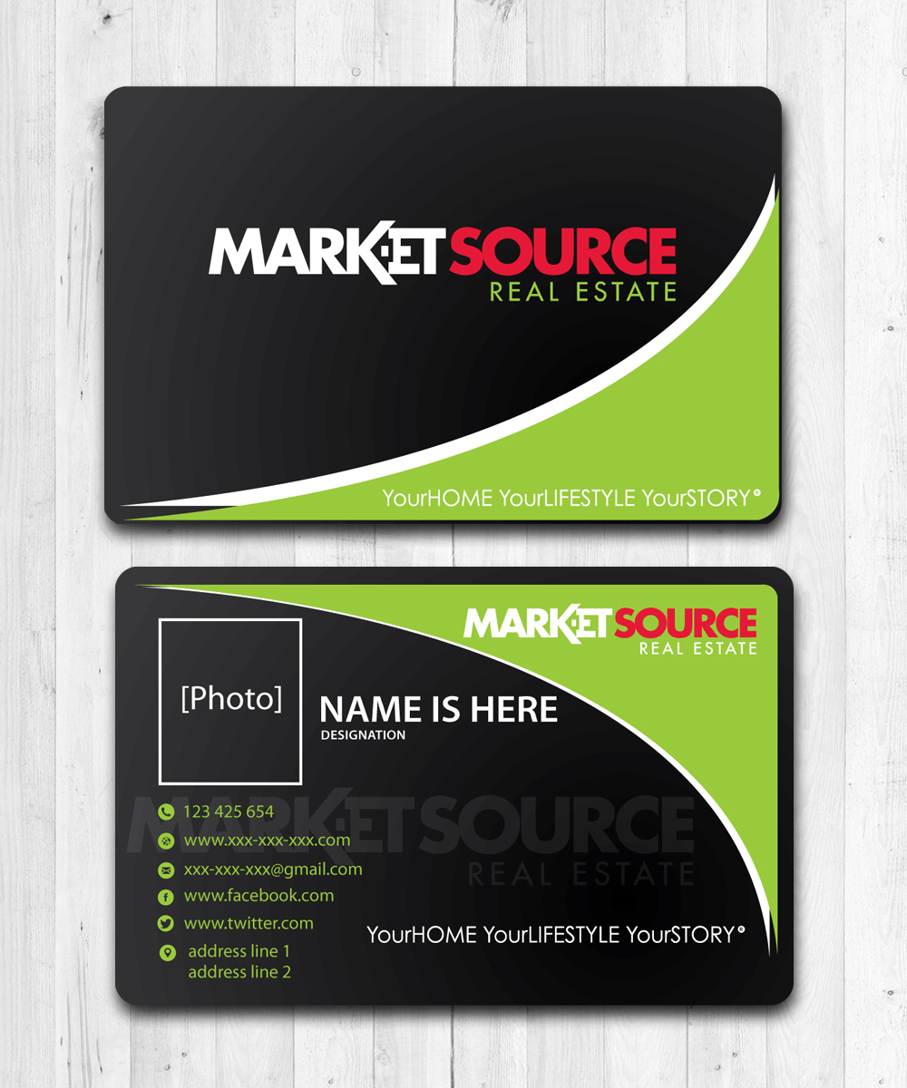 Modern bold real estate agent business card design for market business card design by manikantan for market source media design 14834031 reheart Image collections