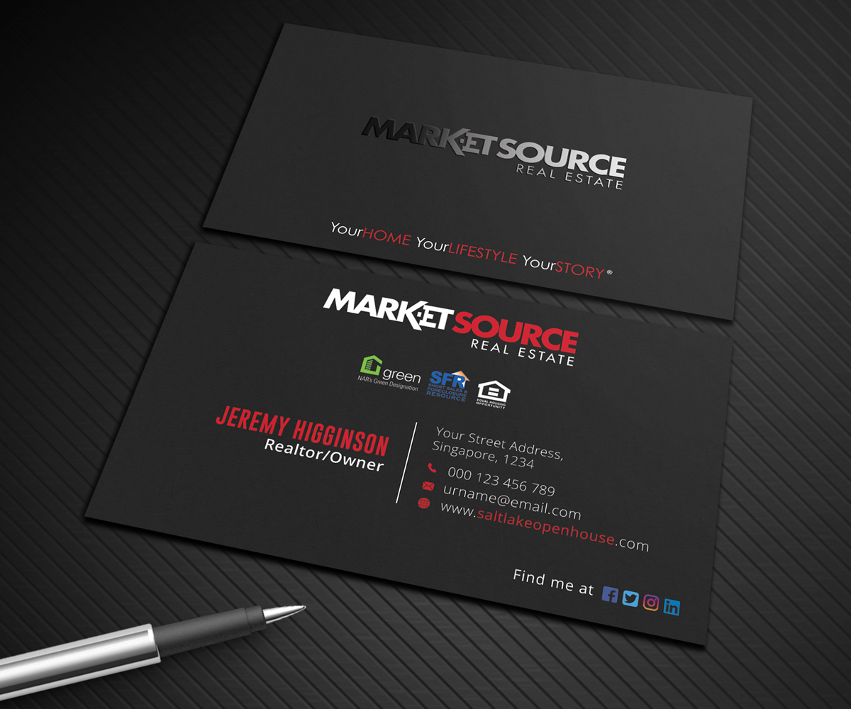 Modern bold real estate agent business card design for market business card design by graphic flame for market source media design 14830843 reheart Image collections