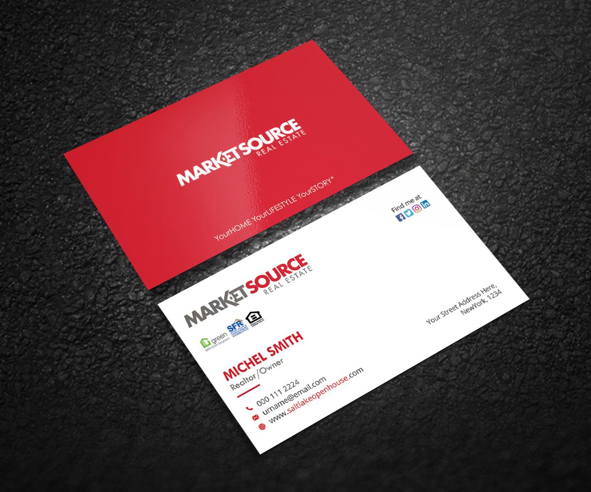 Modern Bold Real Estate Agent Business Card Design For Market