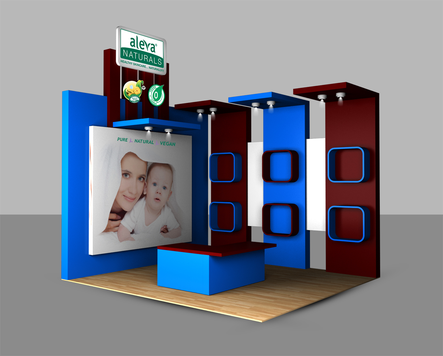 Modern Exhibition Booth Design : Elegant modern baby care trade show booth design for a