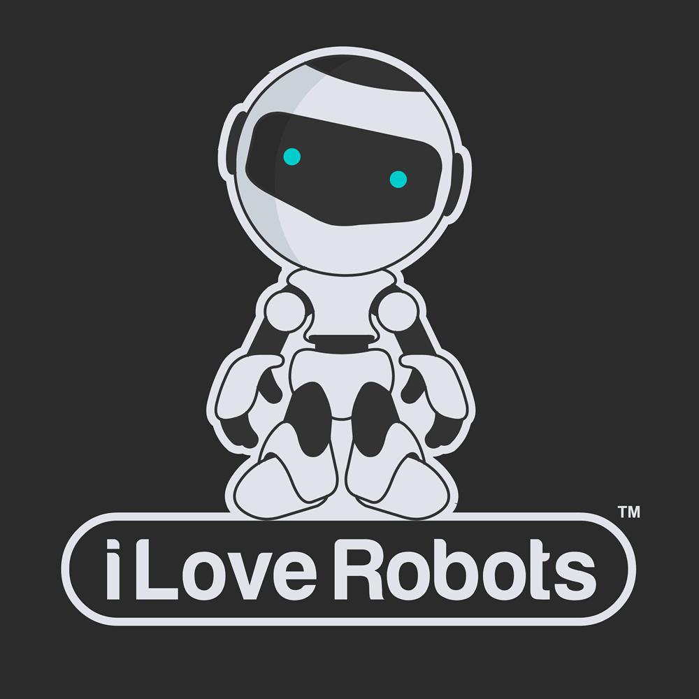 modern bold entertainment logo design for i love robots