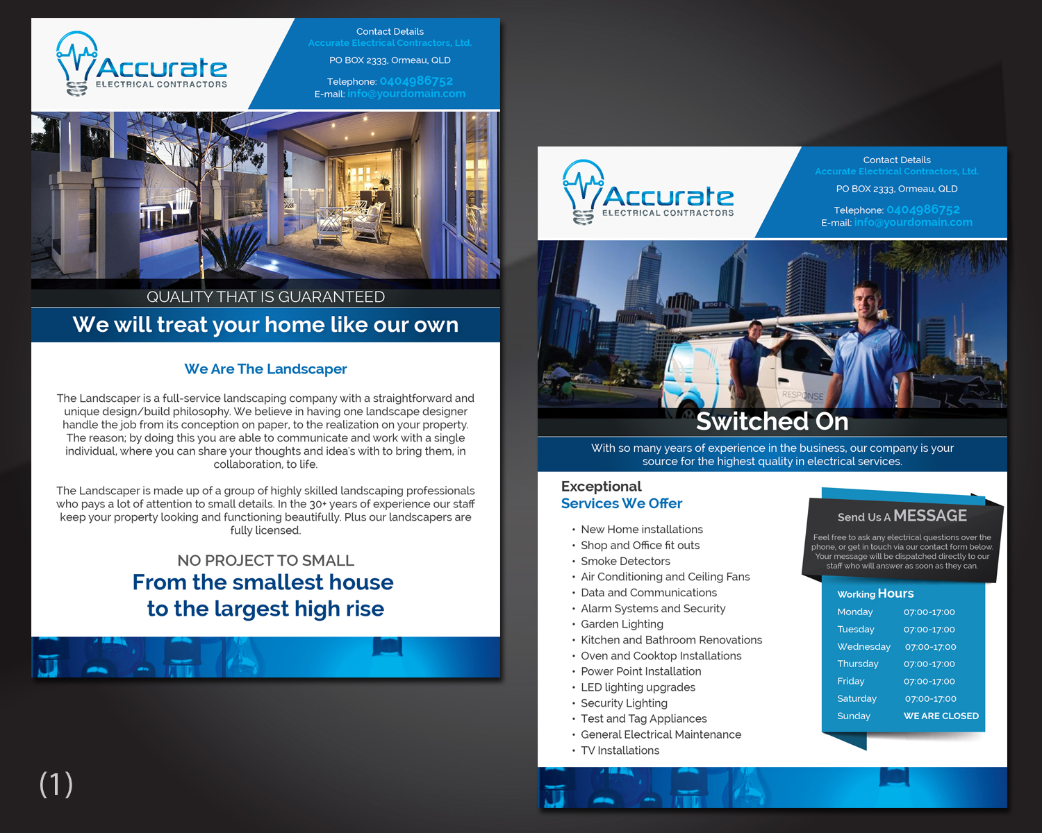 Elegant, Playful, Electrical Flyer Design for Accurate