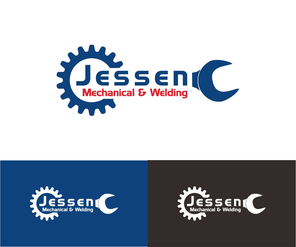 masculine conservative mechanical engineering logo design  jessen mechanical welding
