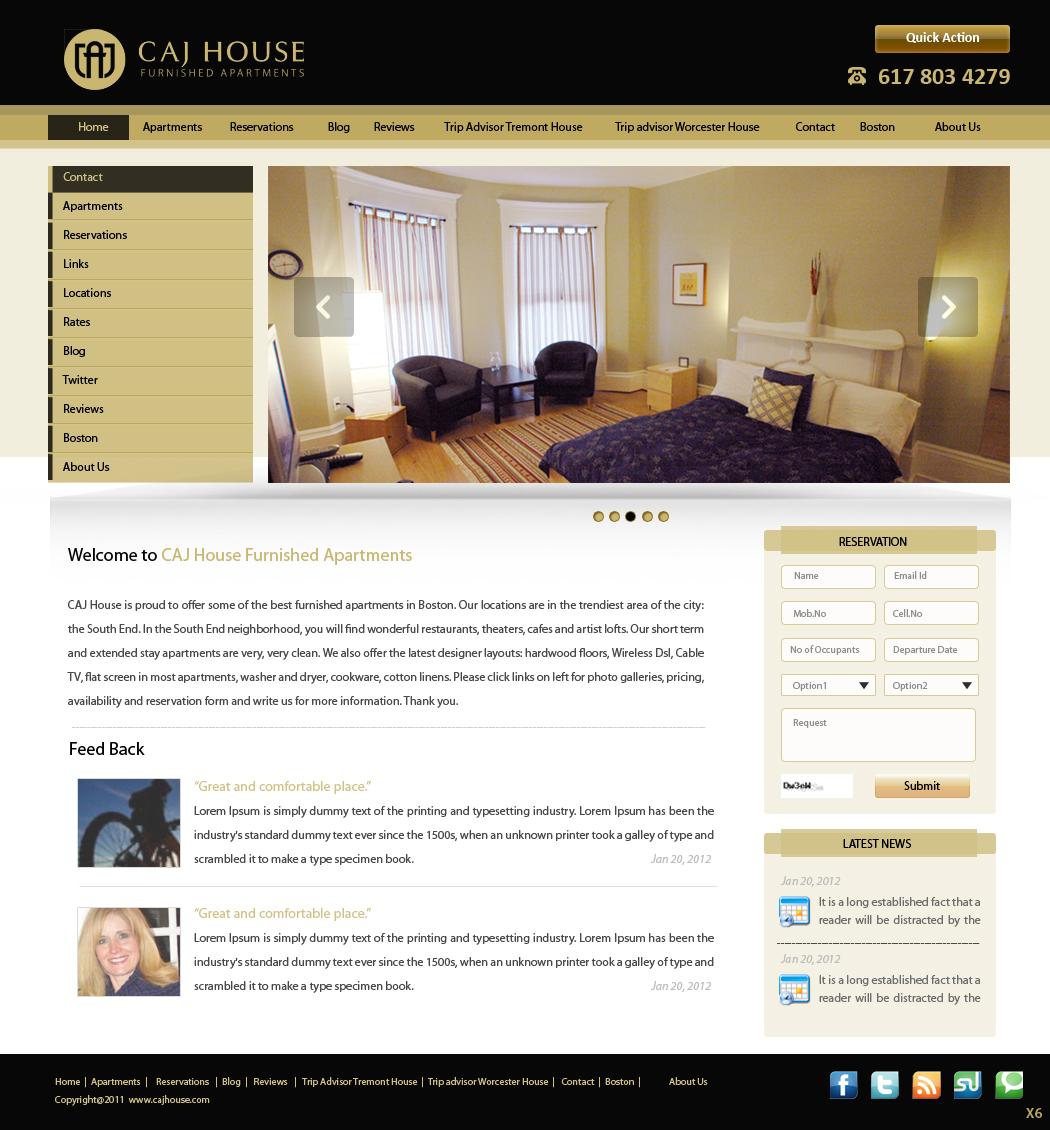 Elegant, Upmarket, Apartment Web Design for CAJ House by pb | Design