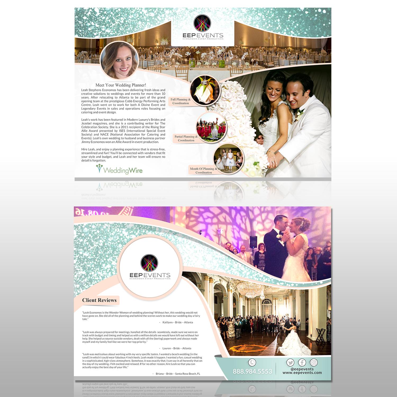feminine elegant wedding planner flyer design for leah economos by