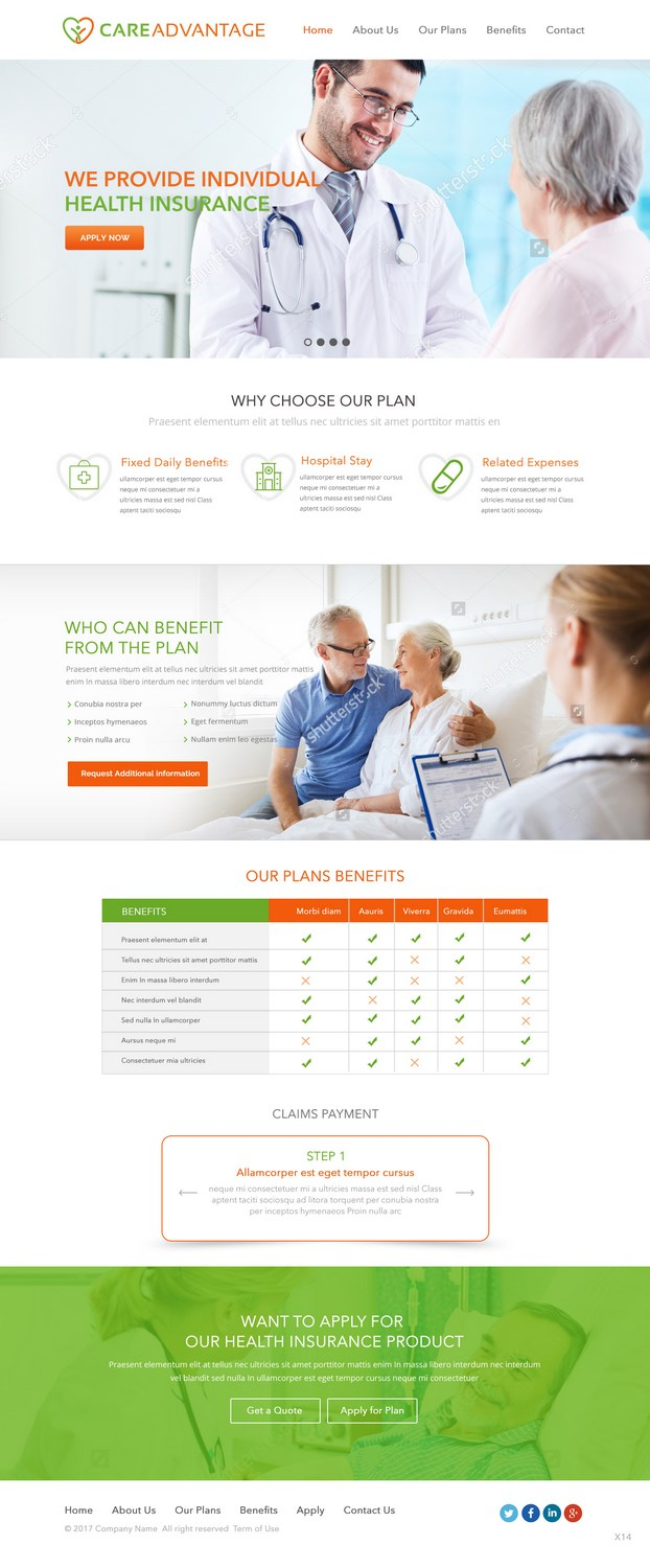 Serious Modern Health Insurance Web Design For Pinnacle Benefits