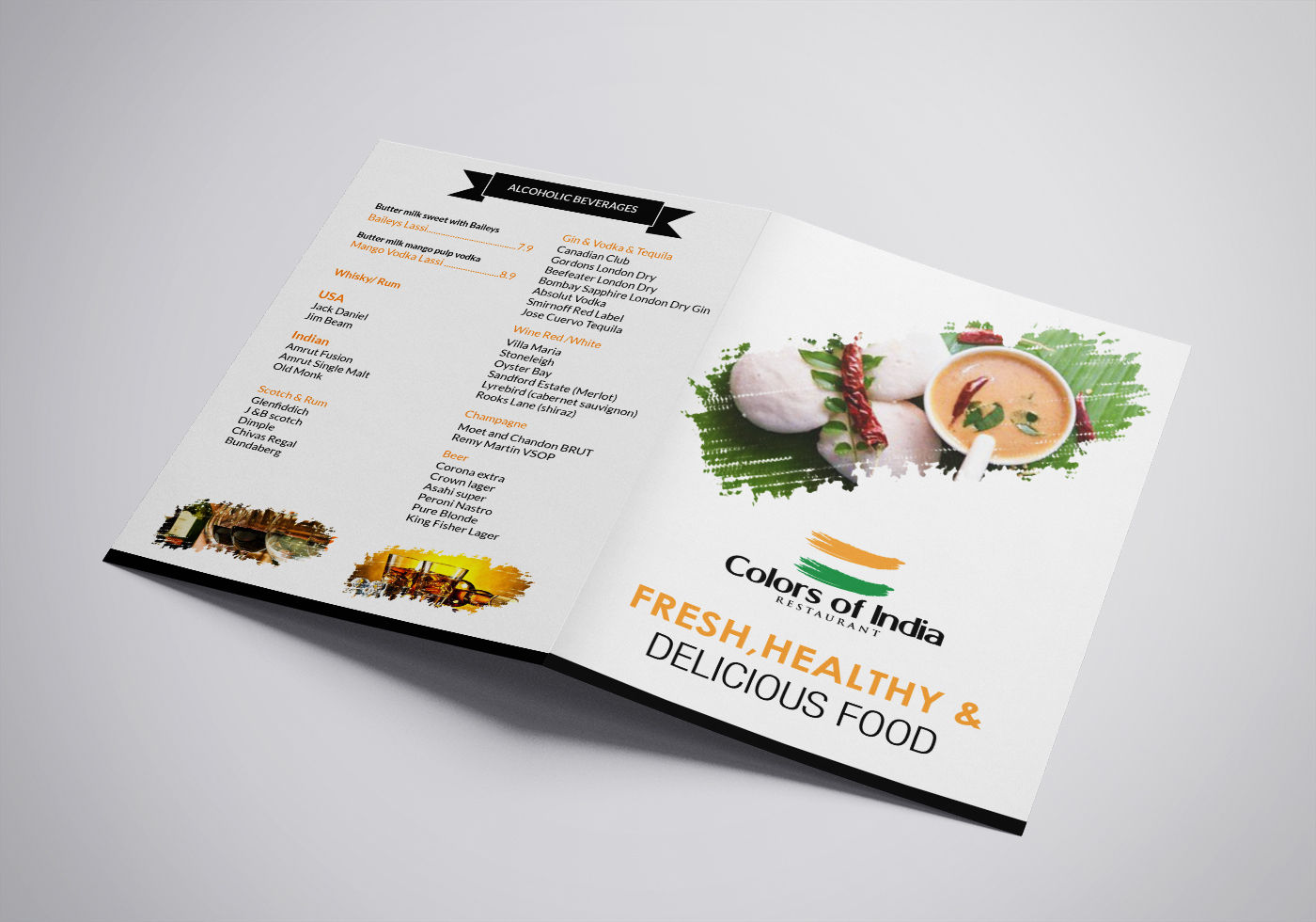 Elegant professional indian restaurant menu design for a