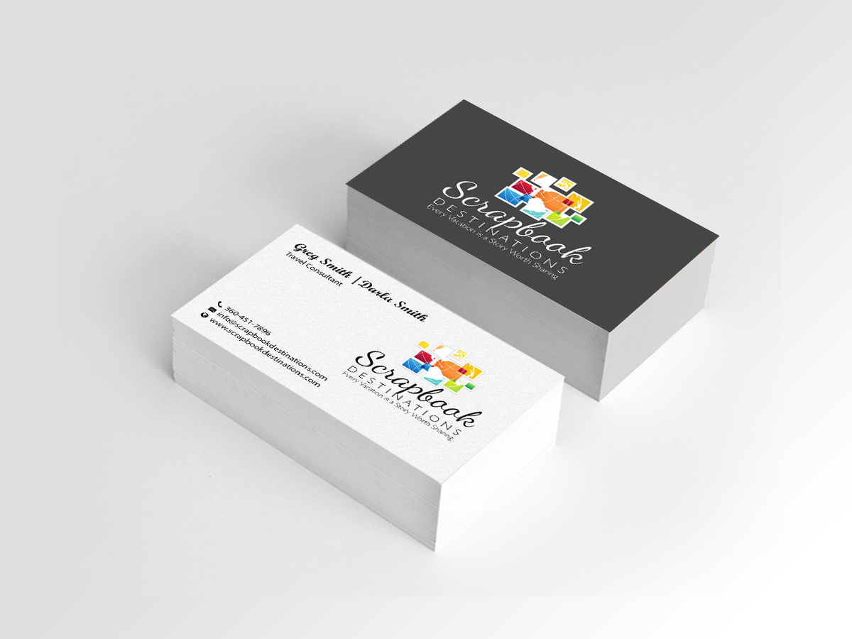 Professional modern travel agent business card design for business card design by creations box 2015 for scrapbook destinations design 15065462 colourmoves