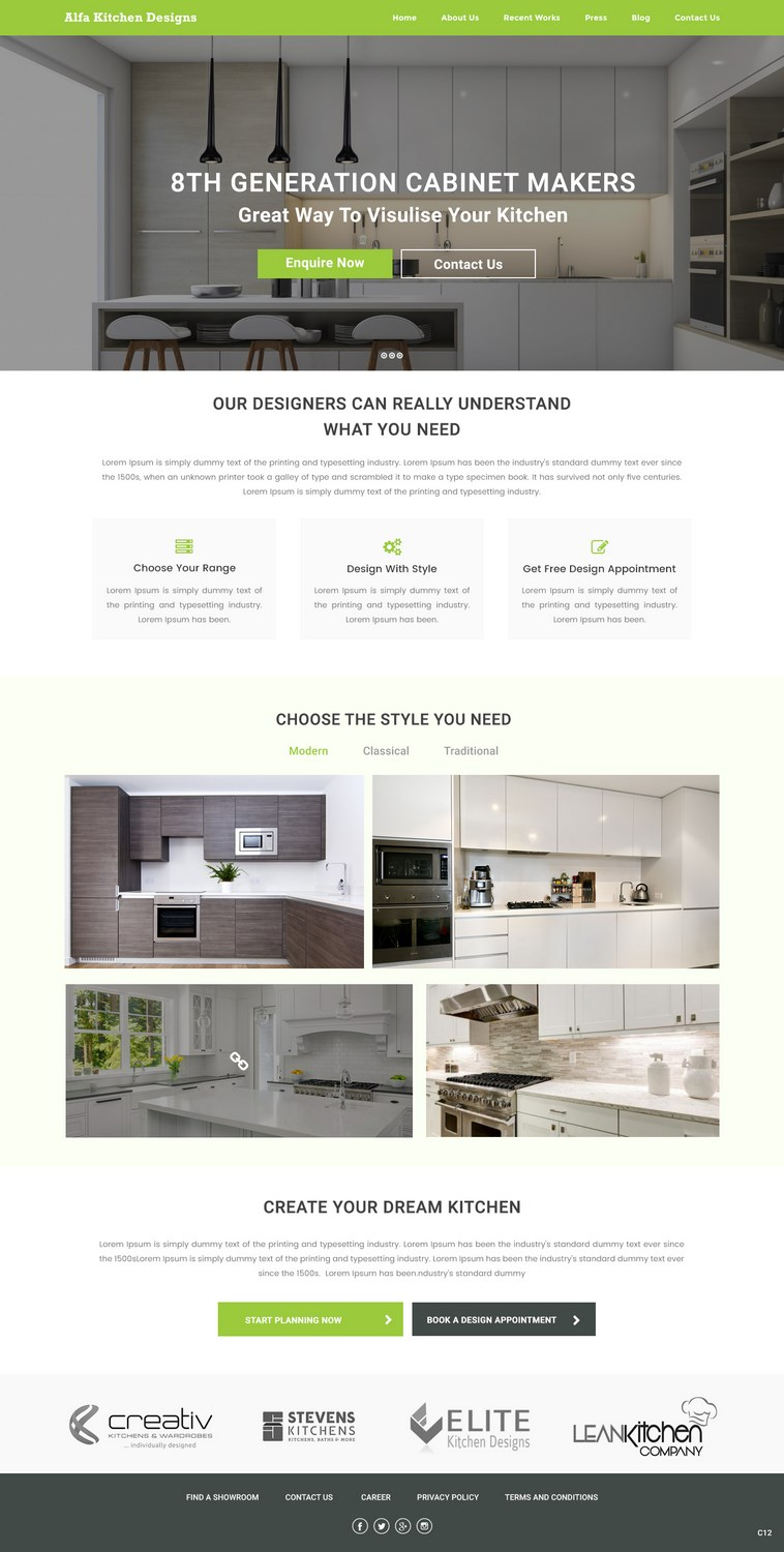 Modern, Serious Web Design for alfa kitchen designs with the use of ...