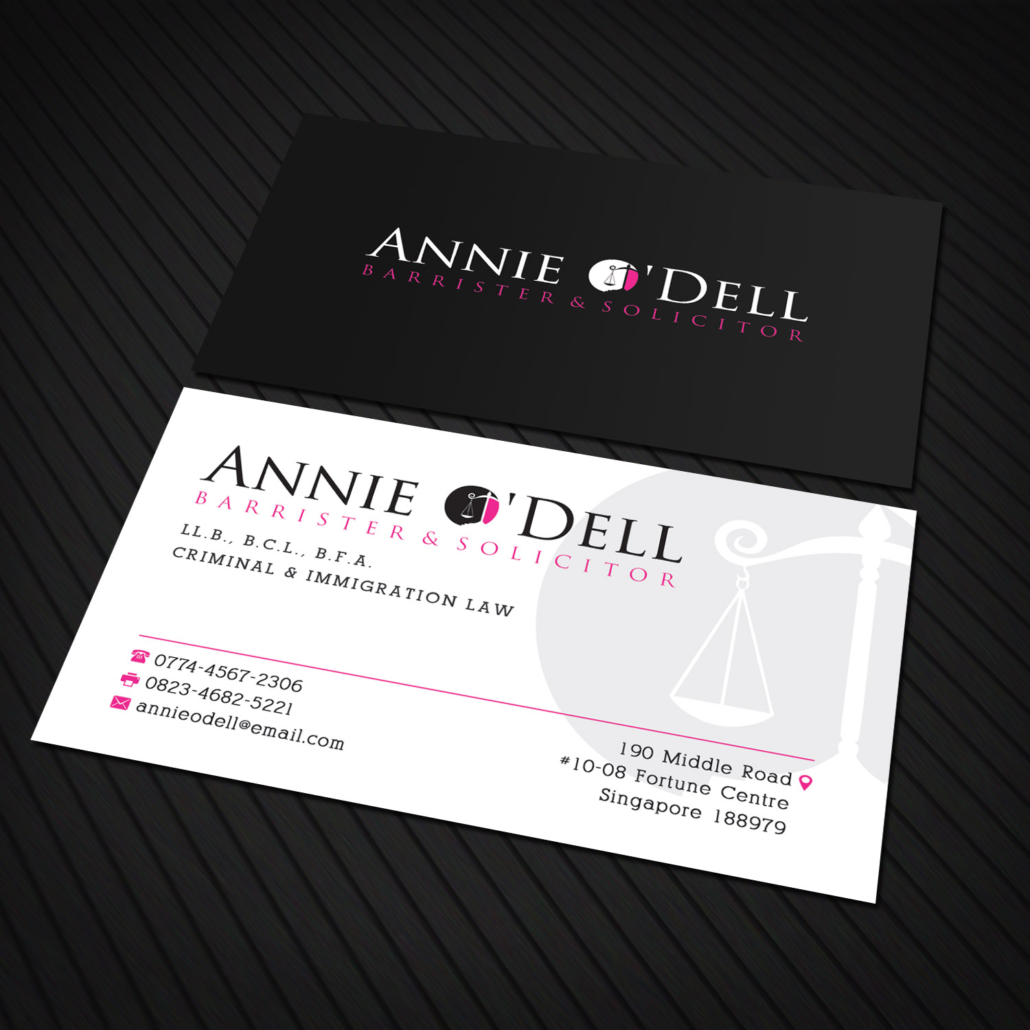 Playful, Bold, Lawyer Business Card Design for Annie O\'Dell ...
