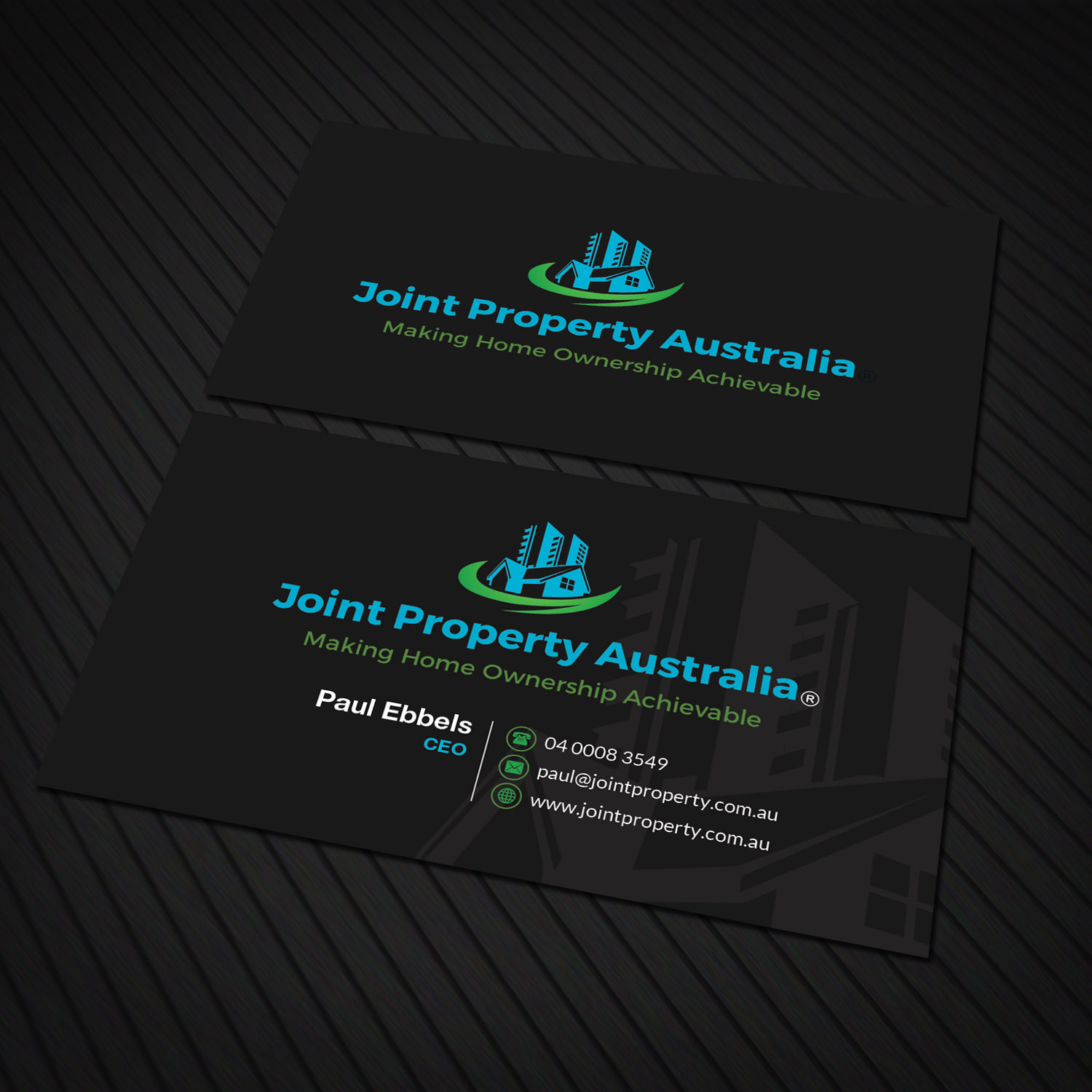 Professional bold real estate business card design for joint business card design by sandaruwan for joint property australia design 15167854 colourmoves