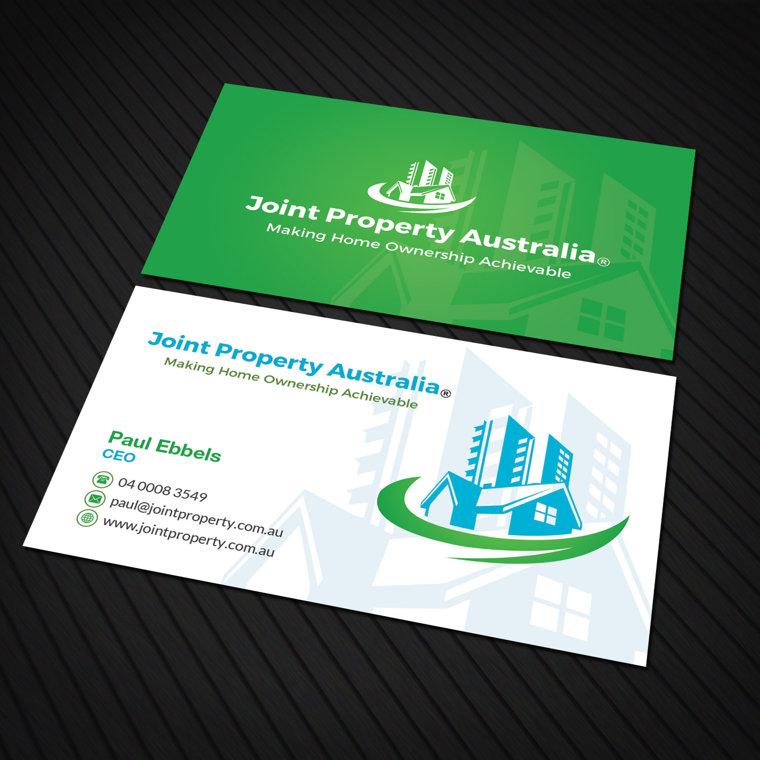 Professional bold real estate business card design for joint business card design by sandaruwan for joint property australia design 15168052 reheart Image collections