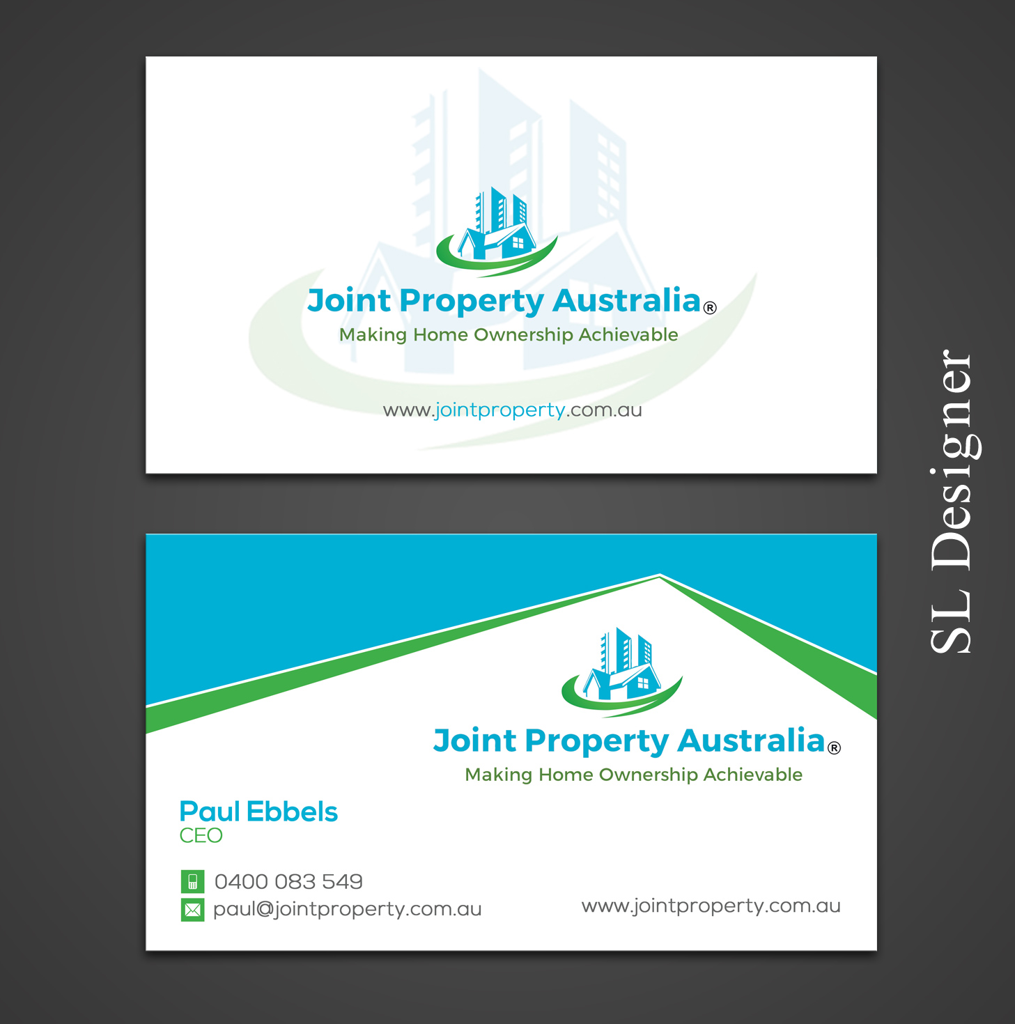 Professional, Bold, Real Estate Business Card Design for Joint ...