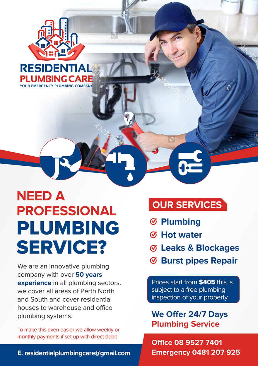 Professional Economical Plumbing Flyer Design For Residential