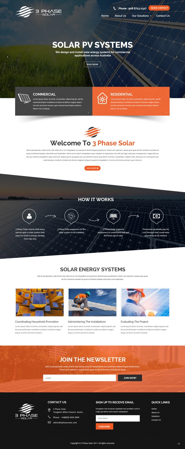Professional, Serious, Solar Energy Web Design for 3 Phase Solar by