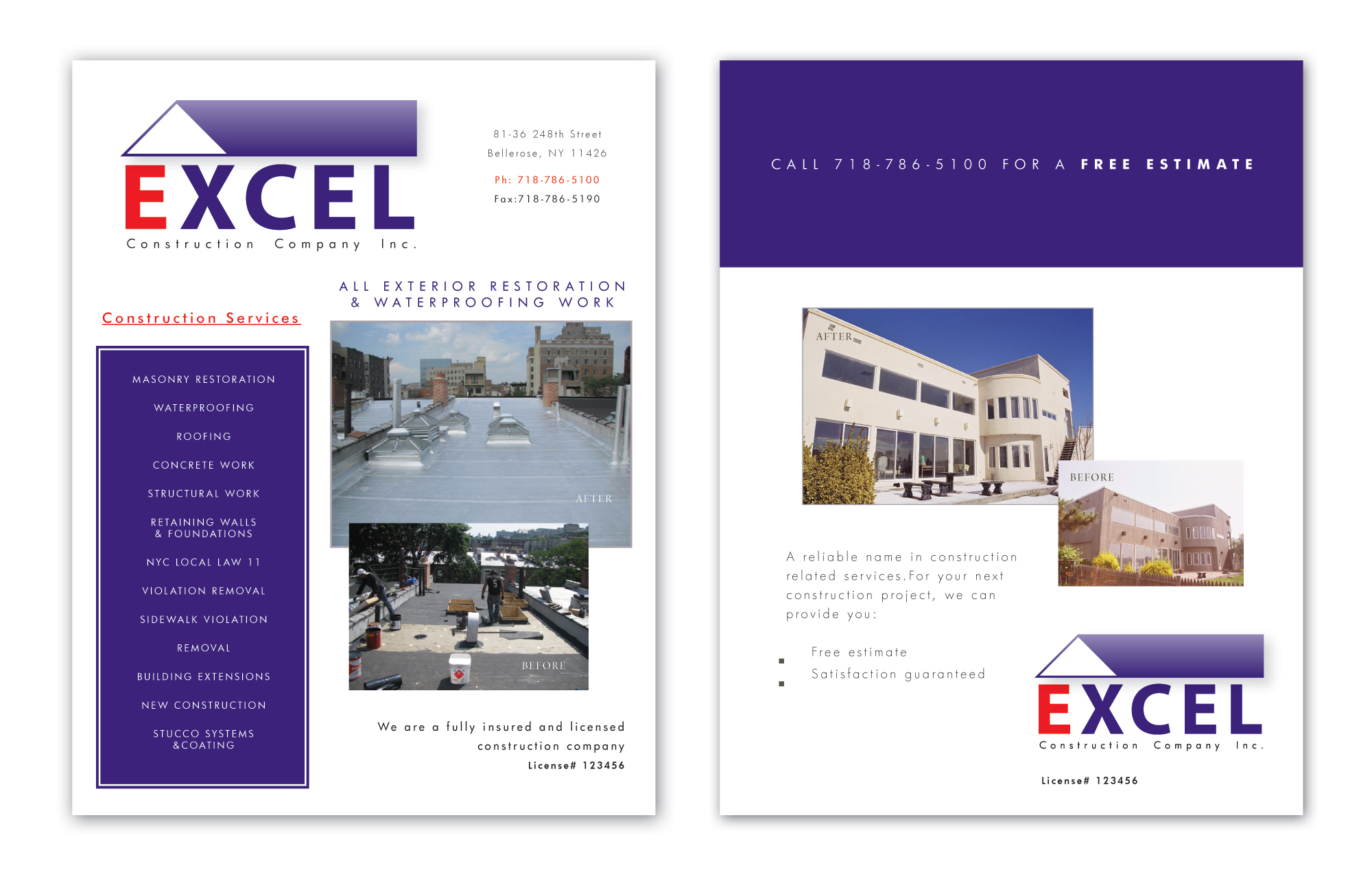 construction brochure design for excel construction company inc by