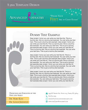 advanced podiatry needs a branded 8 5 x 11 template flyer design contest brief 278300. Black Bedroom Furniture Sets. Home Design Ideas