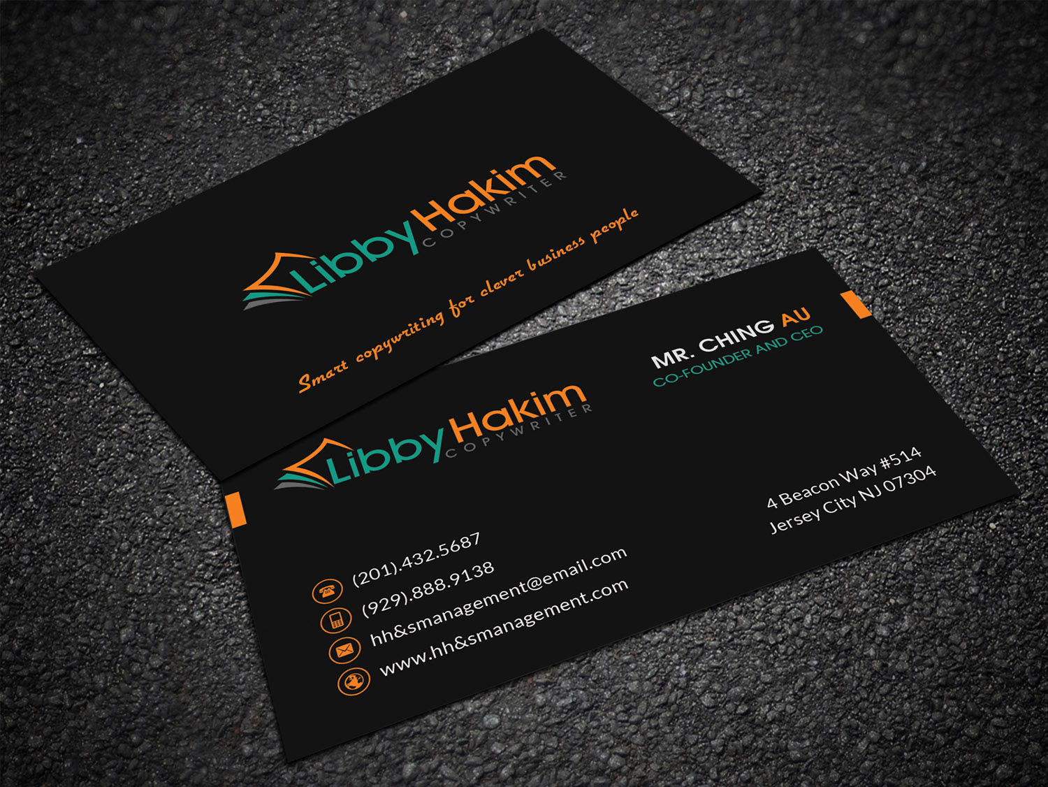 Upmarket bold business card design for libby hakim by sandaruwan business card design by sandaruwan for modern business card design for professional copywriter design reheart Choice Image